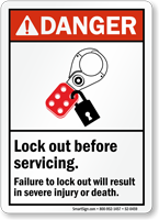 Lock Out Before Servicing ANSI Danger Sign