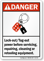 Lock Out Tag Out Power Before Servicing Sign