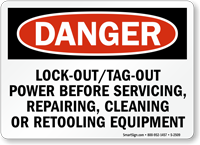 Danger Sign: Lockout/Tag Out Power Before Servicing
