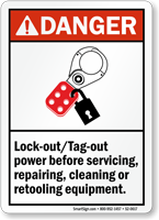 Lockout Tagout Power Before Repairing Retooling Equipment Sign