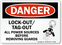 Lockout Tagout Power Sources Before Removing Guards Sign