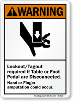 Lockout Tagout Required If Table Disconnected Warning Sign