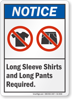 Long Sleeve Shirts Pants Required Sign
