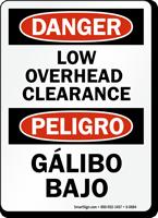 Danger / Peligro Low Overhead Clearance (Bilingual)