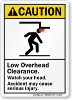Low Overhead Clearance, Watch Your Head Caution Sign