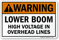 High Voltage In Overhead Lines ANSI Warning Sign