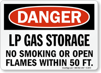 Danger LP Gas Storage No Smoking Sign