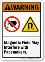 Magnetic Field May Interfere With Pacemakers Warning Sign