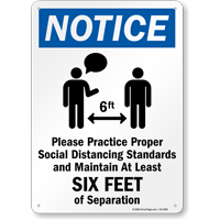 Maintain 6 Feet of Separation Social Distancing Sign