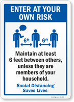 Maintain At Least 6 Feet Distance Pool Rules Sign