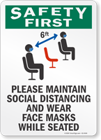 Maintain Social Distancing And Wear Face Masks Sign