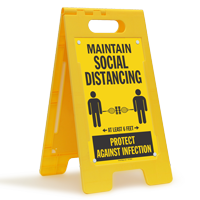 Maintain Social Distancing At Least 6 Feet Floor Sign