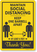 Maintain Social Distancing Keep 1 Barbell Apart 6 Ft Sign
