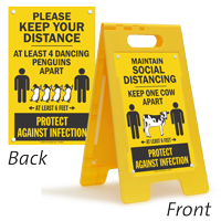 Maintain Social Distancing Keep 1 Cow Apart Floor Sign