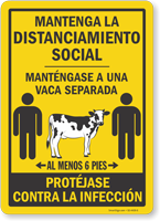 Maintain Social Distancing Keep 1 Cow Apart Spanish Sign