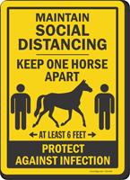 Maintain Social Distancing Keep 1 Horse Apart Sign
