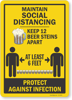 Maintain Social Distancing Keep 12 Beer Steins Apart Sign