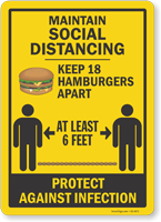 Maintain Social Distancing Keep 18 Ham Burgers Apart Sign