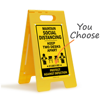 Maintain Social Distancing Keep 2 Desks Apart FloorBoss Sign
