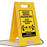 Maintain Social Distancing Keep 2 Desks Apart FloorBoss Sign