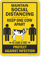 Maintain Social Distancing Keep One Cow Apart Sign