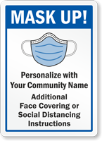 Mask Up Custom Face Covering Sign