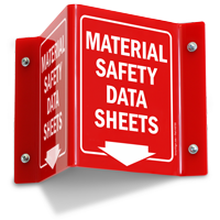 Material Safety Data Sheets with Down Arrow Sign
