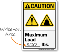 Maximum Load Write On Lbs ANSI Caution Sign