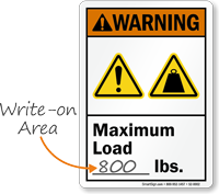 Maximum Load ___ Lbs. Write-On ANSI Warning Sign