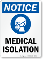 Medical Isolation Hospital Sign With Wear Dust Mask