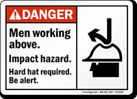 Men Working Above Impact Hazard Hard Hat Sign