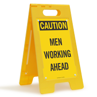 Men Working Ahead Caution Standing Floor Sign