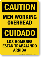 Men Working Overhead Bilingual Sign