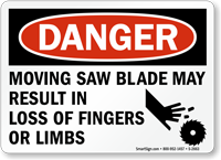 Danger Moving Saw Blade Sign