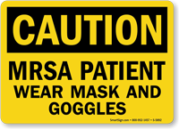 Mrsa Patient Wear Mask Goggles Caution Sign