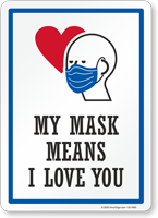 My Mask Means I Love You Face Covering Sign
