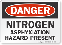 Nitrogen Asphyxiation Hazard Present OSHA Danger Sign