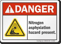 Nitrogen Asphyxiation Hazard Present ANSI Danger Sign