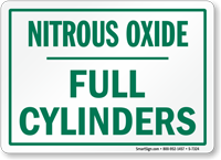 Nitrous Oxide Full Cylinders Sign