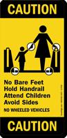 No Bare Feet Hold Handrail Attend Children Sign