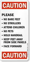 Caution No Bare Feet No Strollers Sign