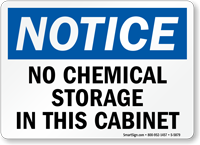 No Chemical Storage In Cabinet Notice Sign