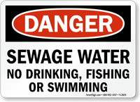 Sewage Water No Drinking, Fishing, Swimming Sign