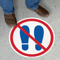 No Entry With Footprints Symbol SlipSafe Floor Sign