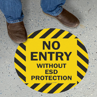 No Entry Without ESD Protection Floor Sign