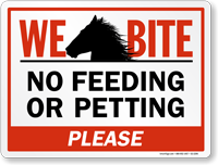 No Feeding Or Petting Horse Sign