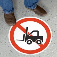 No Forklift Circular Floor Sign
