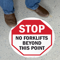 No Forklift Beyond This Point Floor Sign