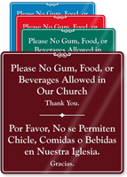No Gum Food Beverages Allowed ShowCase Sign