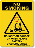 No Ignition Source Battery Charging Area Sign